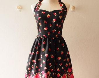 Black Vintage Sundress Red Floral Vintage Inspired Red Floral Garden Dress Tea Party Dress Halter Retro Modern Dress Gift for Women, custom