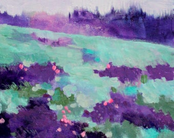 "Original Abstract Landscape Painting, Small Floral, ""Meadow of Purple Flowers"" 8x10"""