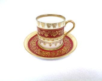 Demitasse Cup and Saucer Set, Aynsley Pearl, Maroon