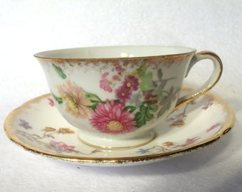 """Royal Staffordshire """"Violets-Pompadour"""" English China Floral Teacup and Saucer"""