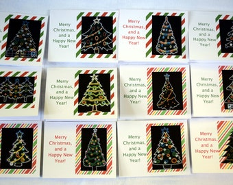 Colorful Artistic Christmas Trees - Notecards