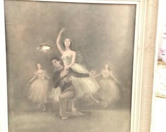 Vintage chippy white framed large Ballerina print signed Shabby chic prairie