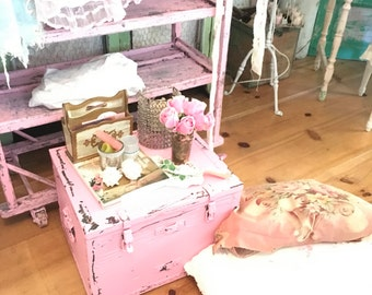 Vintage wood and metal chest pink chippy shabby chic cottage chic