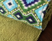 Cloth UnPaper Towels Reusable with Snaps aztec navy blue yellow green Set of 10