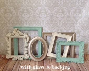Mint PICTURE FRAMEs - gold - cream - shabby chic wedding - set of 6 -nursery - Glass N Backing