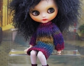 Habilisdolls dress, outfit, clothes, fashion, ensemble, set, knitwear for Blythe dolls, hand knitted long sweater, leggings tights, booties
