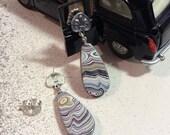 Fordite or Vintage Car Paint & Sterling silver Earrings