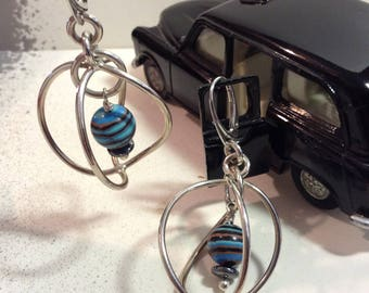 Fordite - Dearborn Michigan Vintage Car Paint Hand-cut Bead Dangle Earrings Sterling Silver Hemitite accent Beads