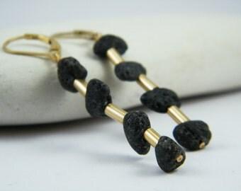 Black gold Dangle earrings Black lava earrings Gold and black long Lava earrings Statement earrings