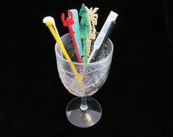 Vintage '50s Swizzle Sticks Barware Plastic Drink Stirrers Misc. Set of 8 Incl. Paradise Beach Nassau, Ivanhoe Miami and Castaways Wreck Bar