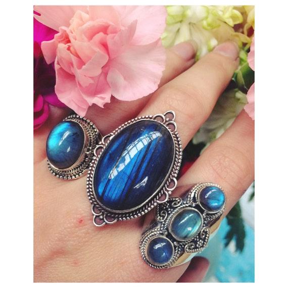 BESPOKE LABRADORITE RING - Sterling Silver Ring- Labradorite Ring- Healing Crystal Jewellery- Chakra Ring- Statement Ring- Boho- Vintage