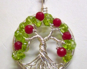 Tree of Life, Fine Silver, Peridot & Red Jade Tree with Sterling Silver Chain Included