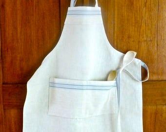 German Mangle Cloth Apron Blue Stripes Linen Details Old New Gift For Mom