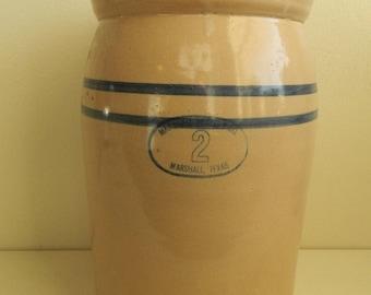 Vintage Marshall Pottery Butter Churn #2 Marshall Texas