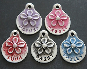 Hand Stamped Dog Tag Pet ID Tags Dog ID Tags Flower Pet Tag Custom Personalized Gifts Pets