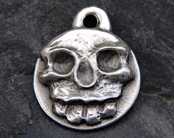 Skull Dog Tag - Custom Pet ID Tags - Dog Collar Tag - Cat Tag - Hand Stamped - Dog Name Tag - Handmade - Small Pet Tag