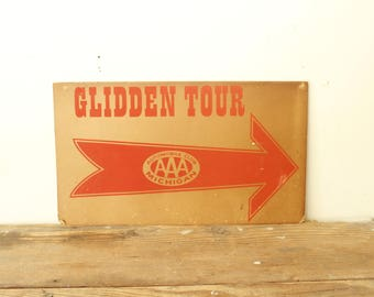 Vintage General Store Signs Paper Ephemera Card Stock Advertising Triple A Glidden Tour Set of Three
