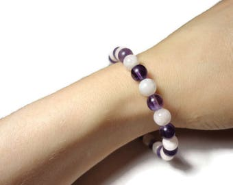 amethyst & moonstone stretch energy bracelet purple and white fits 6.75 inch wrist