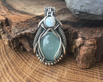 Wire Wrapped Pendant - Heady Wire Wrap - Wire Wrap - Moonstone Pendant - Wire Wrap Pendant - Sweet Water Silver - Aquamarine Pendant