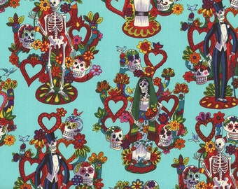 Folklore Fabric, La Vida by Alexander Henry, Turquoise Folklorico Fabric, Mexican Fabric, Day of the Dead Fabric, 01058A