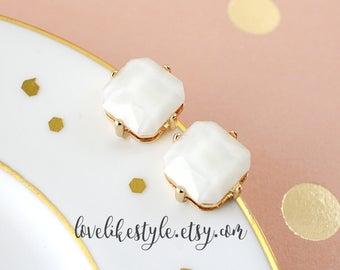 Tiny Square Ivory Color Stone Studs Earrings,Ivory  Studs Earring,  Bridal Earrings, Bridesmaid Earrings, Flower Girl Earrings