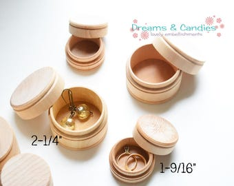 "15 Small Pill Box - Unfinished Wooden Pill Box - Miniature Wooden Box - Size 1 9/16"" diameter and Size 2 1/4"" diameter"" -Small Wooden Box"
