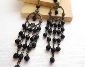 Retro Vintage Gothic Victorian Black Bead Antiqued Metal Chandelier Earrings B45