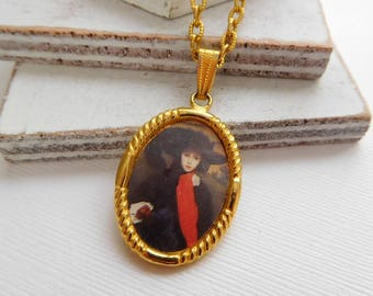 Vintage Woman Black Plumed Hat Classical Painting Art Charm Pendant Necklace