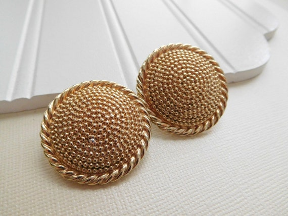 Vintage Signed Barclay Large Gold Tone Rope Dome Circle Clip On Earrings D15