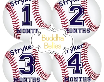Baby Boy PERSONALIZED Baby Month Stickers - Baseball Nursery - Baby Monthly Sticker - Baby Boy Monthly Baby Sticker Baby Shower Gift - BP115