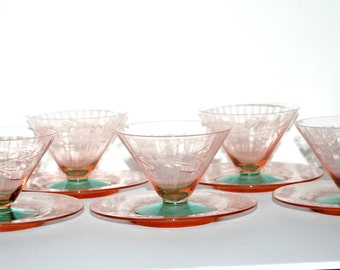 Vintage  watermelon depression  glass sherbets with under plates set of 5