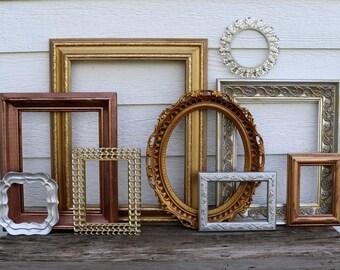 Set of 9 Open Frames - Metallic Frames, Silver, Gold, Bronze, Copper, Rose Gold,Nursery - Gold Wedding - Vintage Frames -Oval Frames