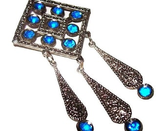 "Art Deco Dangling Brooch Pin Blue Rhinestones Silver Cast Metal 3 1/2"" Vintage"