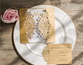 Gold Laser Cut Wedding Invitation. Pocket Style Wedding Invitation. Laser Cut. Modern Wedding. Gold Wedding. Custom Filigree Invitation.
