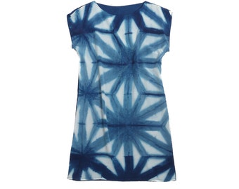 Indigo silk dress.  Shibori dress natural dye silk dress.  made to order