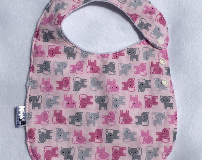 Pink Cat Adjustable Side Snap Bib with Minky Back