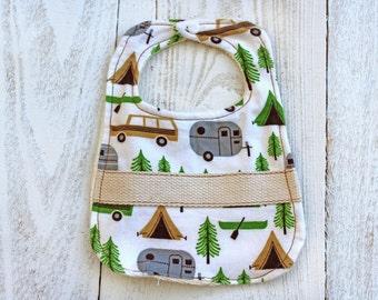 Boho Baby Bib, boy bibs,Happy camper,camper, Cute bib, boho baby accessories, baby gift, newborn bib, infant bib