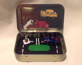 Stocking Stuffer Race Car Toy Altoids Tin Toy Tin/Quiet Time Tin, Travel Play Set, Travel Toy