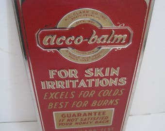 Vintage ACCO-BALM Embossed DRUG Store Advertising Sign