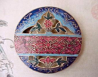 Gorgeous Art Nouveau Era Enameled Half Buckle