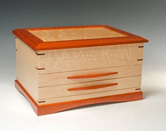 Birdseye Maple Jewelry Box with Bloodwood Accents