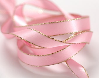 Gold Edged Pink Satin Ribbon 3/8 inch -- 3 yards -- Baby Pink -- 9.5mm