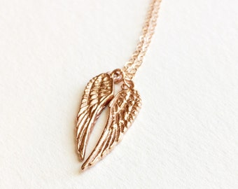 Rose Gold Angel Wings Necklace, Rose Gold Angel Wings Necklace, Rose Gold Jewelry, Friendship Necklace, Memorial Necklace, Gift for Her