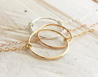 Circle Necklace, Circle Ring Necklace, Karma Necklace, Dainty Eternity Circle, Available in Gold, Rose gold & Silver, Everyday Wear