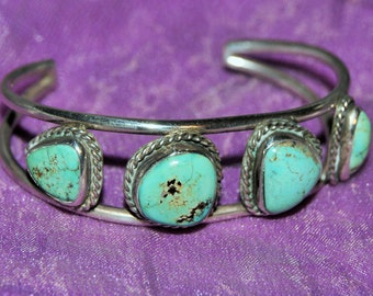 NAVAJO ROYSTON CUFF Sterling Turquoise 4 Cabs c1950