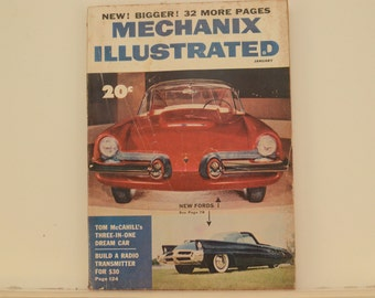 Mechanix Illustrated Magazine, January 1954 - Great Condition, Tips,  Science, Technology, Hundreds of Vintage Ads, Retro-Futurism, Pulp Art