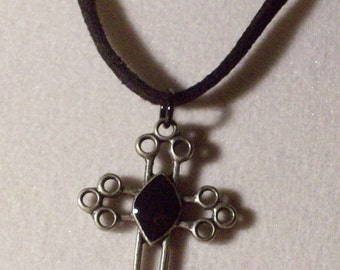 Cross necklace, hollow cross, large center black stone, suede cord 18 inch, Free standard USA shipping only, #N642