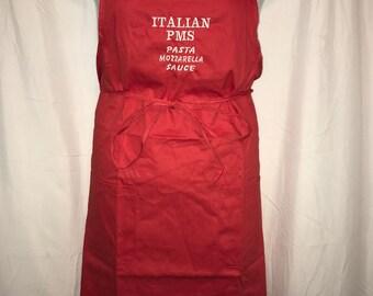 Italian PMS - Pasta - Mozzarella - Sauce - Embroidered Italian Apron - 100% COTTON