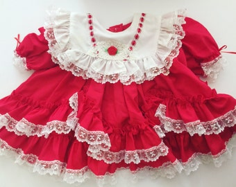 Vintage red ruffle party dress 6-12 months Valentine's Day