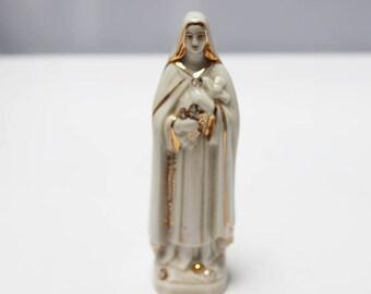 Vintage French Paris Porcelain Madonna ~ hand painted statue / figure - religious statue